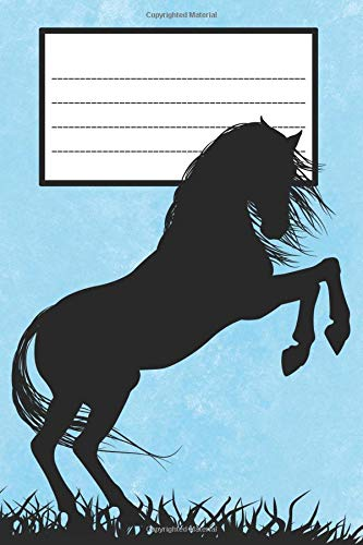 Composition Book: College Ruled Notebook | Composition Book | Diary | Horse Rearing Blue Cover