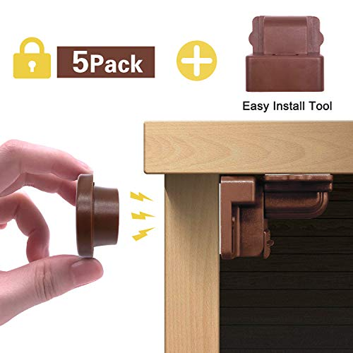 Child Proofing Magnetic Cabinet Locks, Viaky 5 Pack Baby Safety Latches for Cupboard & Drawers, Easy Installation & Strong Adhesive Magnet Drawers Locks, 5 Locks +1 Key(Brown)