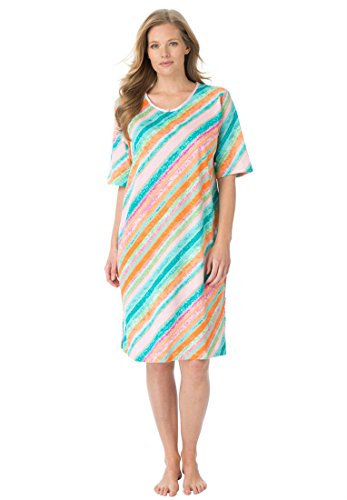 Dreams & Co. Women's Plus Size Tag-Free Knit Sleepshirt (Multi Stripe,1X/2X)