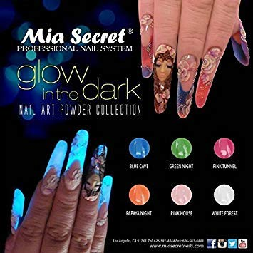 Mia Secret Professional Nail System Acrylic Powder + FREE NAIL BRUSH (6pcs GLOW IN THE DARK)