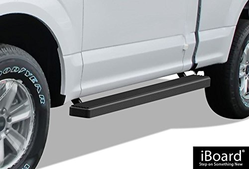 APS iBoard Running Boards (Nerf Bars | Side Steps | Step Bars) for 2015-2019 Ford F150 Regular Cab Pickup 2-Door / 2017-2019 Ford F-250/F-350 Super Duty | (Black Powder Coated 4 inches)