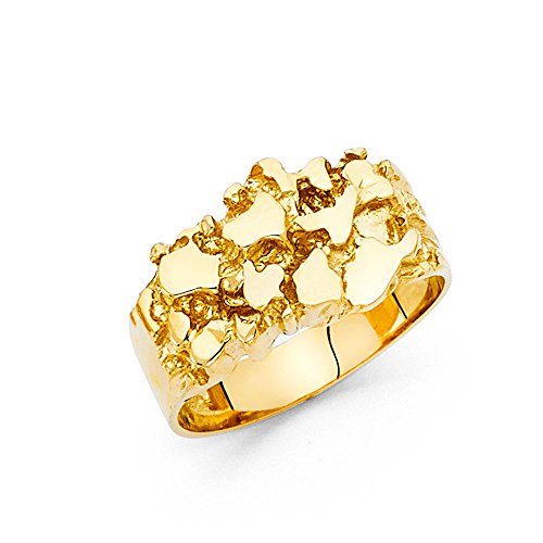 Solid 14k Yellow Gold Nugget Ring Mens Band Chunky Diamond Cut Fancy Genuine 12MM Size 10.5 (Nugget Ring Gold Yellow)