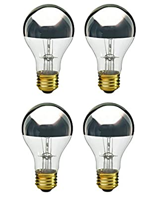 Pack Of 4 60A19/SB Half Chrome Silver Bowl A Shape Medium (E26) Base Incandescent Light Bulb