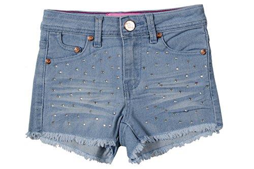Girls' Stretch 5 Pockets Premium Embellished Stretch Denim Shorts in Light Blue Size 12