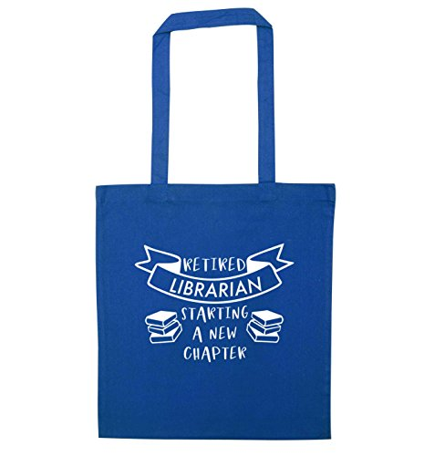 Flox Creative Tote Bag Retired librarian starting a new chapter Blue