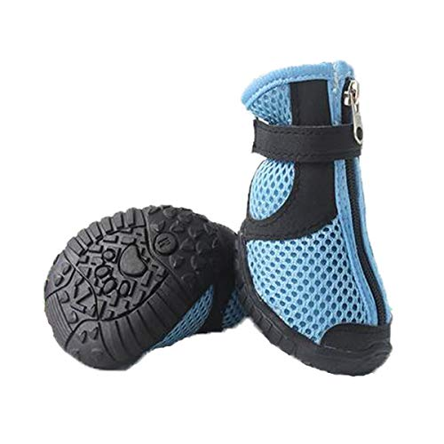 Qiyuezhuang Dog Shoes, Dog Rain Boots, Medium Dogs, Large Dog Waterproof Non-Slip Shoes, Dog Outdoor Sports Shoes, Pet Supplies, Yellow, Blue (XL) Beautiful Atmosphere (Color : Blue, Size : L)