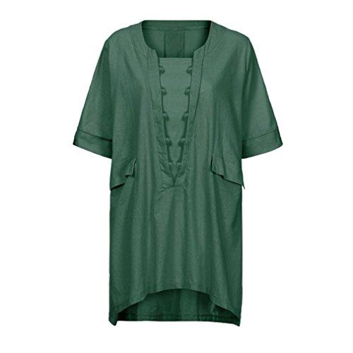 Shirt Femme Beikoard Top Femme Femme Manches Blouse Grande Chic Taille Chemisier à Courte lâche Shirt Tunique Haut Femme Vert T Sweat Femme fwagIqZa