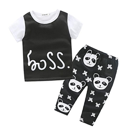 [Baby Outfits,Leegor Boys Lovely Panda Printed T-shirt Tops+Pants Clothes Set (12M)] (Panda Outfits For Babies)