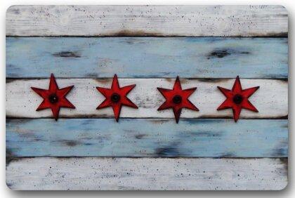 TSlook Doormat Chicago Flag Indoor/Outdoor/Front Welcome Door Mat(30