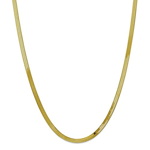 10k Yellow Gold 4mm Silky Link Herringbone Chain Necklace 18 Inch Pendant Charm Fine Jewelry For Women Gift Set