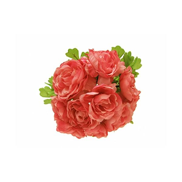 LACrafts Artificial Flower Bouquets for Kissing Balls, Floral Bouquets, Centerpieces and Decoration (44 Head Ranunculus, Coral)