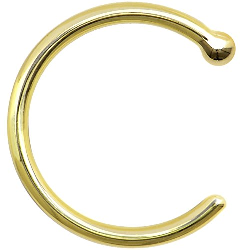 Solid 14k Yellow Gold Nose Hoop 18 Gauge 5/16