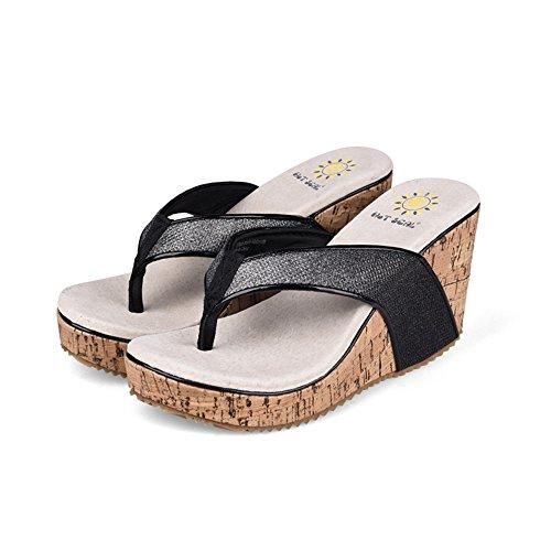 tacón 2 verano EU39 con Color 1 Tamaño antideslizantes alto de de CN39 UK6 playa y Zapatos grueso fondo mujer Slipper para Sandalias 1vxqEwp