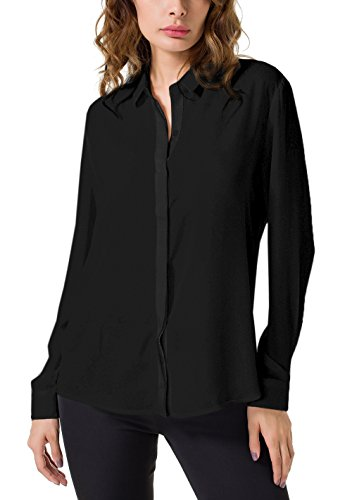 DPO Women's Chiffon Casual Button up Shirt Long Sleeve Loose Cuffed Blouse Black 12