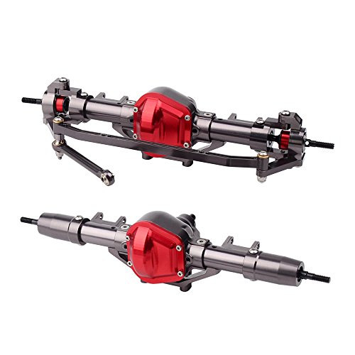 INJORA RC Rock Crawler Axle for Axial SCX10 RC4WD D90,CNC Metal,1 10 Scale(Front & Rear) - Rc Crawler Parts
