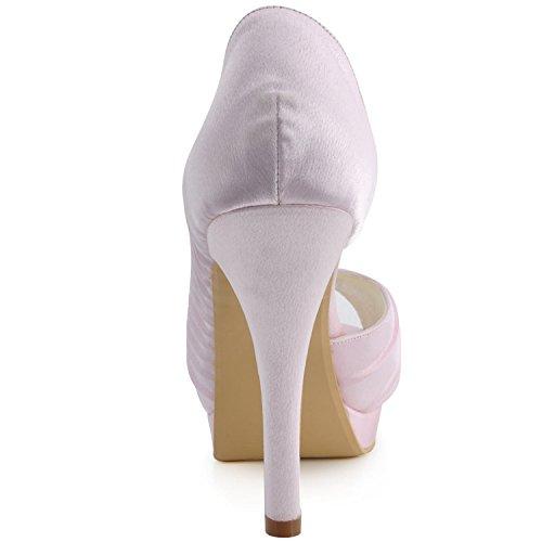 Minitoo de para satinado nupcial boda 12cm noche sandalias talón MZ542 rosa mujer baile plisado a48a6q