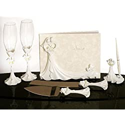 Bride and Groom Calla Lily Wedding Accessories SET: Guest Book, Pen, Flutes..