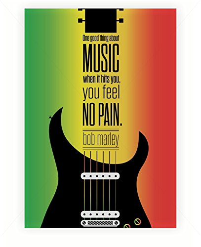 One Good Thing About Music When It Hits You Bob Marley Musician Inspirational Quotes Typography Poster
