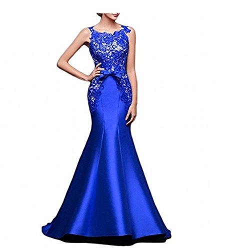 Scoop ANGELA Evening Lace Royal Satin Mermaid Formal Blue Women's and Dresses HHxnar5
