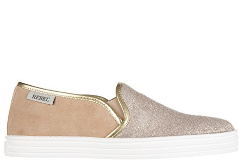 Hogan Rebel slip on donna in camoscio sneakers nuove originali r141 oro