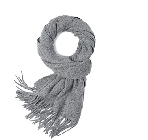Mens Cashmere Scarf, Winter Warm Color Block Cashmere Wool Blend Unisex Scarfs Wraps for Men and Women (Grey)