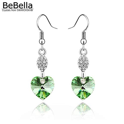 Women Crystal Heart Pendant Earrings Made with Elements (Peridot)