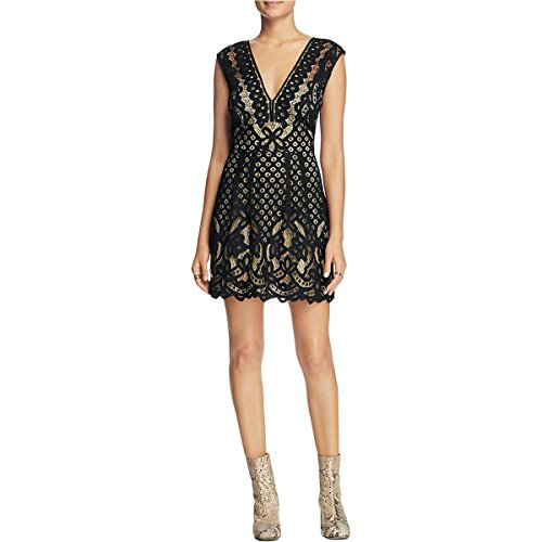 Free People Womens Lace Pleated Cocktail Dress Black 12