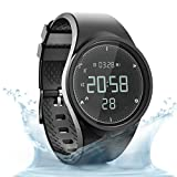 synwee Sports Fitness Tracker Digital Watch,IP68 Waterproof,Non Bluetooth, with Pedometer/Vibration Alarm Clock/Timer for Men Women Teenager Children(Black-Gray) ...