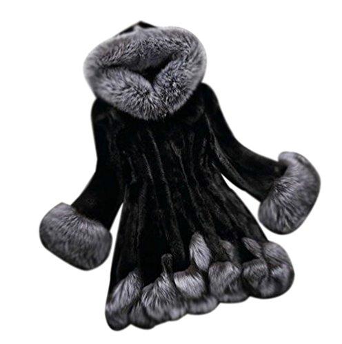 para Manga de de con Corta de Negro Mujer Artificial Larga Abrigo Pelo Invierno Capucha Chaqueta W7vnpqRR