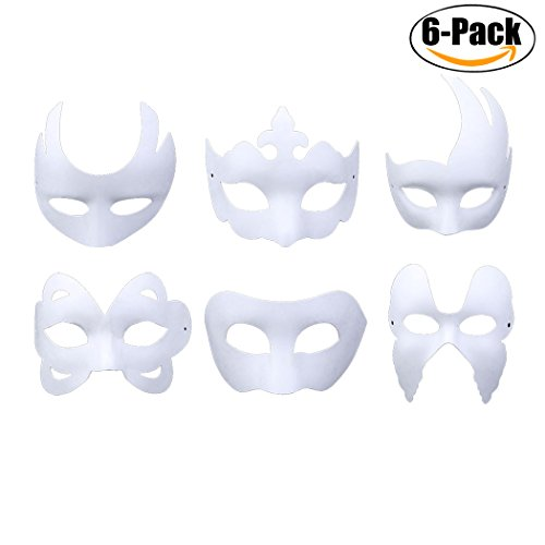 [Halloween DIY Mask,Outgeek 6 Pcs Plain Paper DIY Cosplay Mask Half Face Dance Mask for Halloween Party] (Half Masks Halloween)