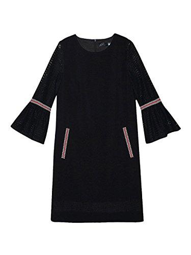 Jollychic - Vestido - trapecio - manga 3/4 - para mujer negro