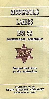 1951-52 Minneapolis Lakers Schedule Official Reproduction