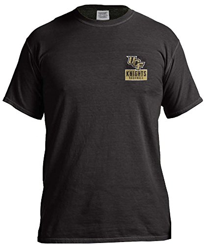 NCAA Central Florida Golden Knights Vintage Baseball Flag Comfort Color Short Sleeve T-Shirt, XX-Large,Black - Central Florida Baseball