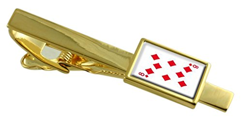 Select Gifts Diamond Playing Card Number 8 Gold-Tone Tie Clip Engraved Message Box