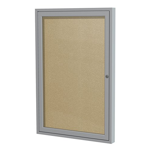 Ghent 24 x 18 Inches Outdoor Satin Frame Enclosed Vinyl Bulletin Board, Caramel , Made in the USA (Enclosed Bulletin Board Satin)