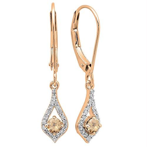 (Dazzlingrock Collection 0.50 Carat (ctw) 18K Round Champagne & White Diamond Ladies Dangling Drop Earrings, Rose Gold)