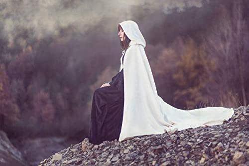 Capa de novia en damasco con cola y capucha extra larga