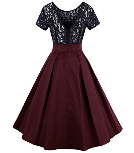 Red Cocktail 1950s Floral Dress Women's Vintage Aecibzo Swing Contrast Irregular Wine Lace qA0PxxB
