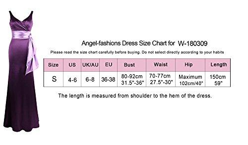 Perspektive Damen Kleid Armellos V Meerjungfrau Spitze Lila Angel fashions Ruckenfrei Ausschnitt 7BOppX
