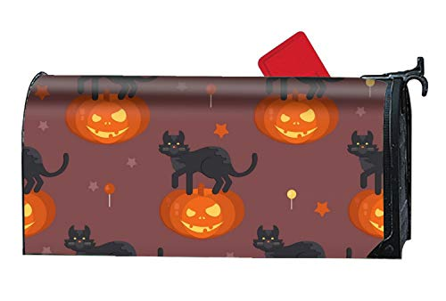 XW-FGF Mailbox Cover Magnetic Mailbox Wrap with Decorative Summer Themed Design Halloween Pumpkin Head with Black Cat Pat