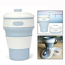 Itian Collapsible Coffee Cup Portable Silicone Mug for Outdoor Traveling Hiking Office Home Use(Light Blue)