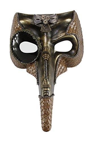 KAYSO INC Long Nose Warrior Pirate Skull Woven Masquerade Mask (Rustic Gold) (Warriors Pirate)