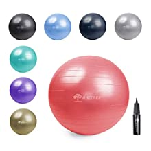 Bigtree Exercise Ball Extra Thick Yoga Ball Chair, Anti-Burst Heavy Duty Stability Ball, Birthing Ball with Quick Pump (red, 65CM)