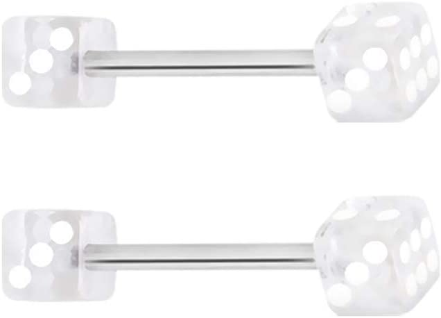 Sold Individually WildKlass Jewelry 316L Surgical Steel Nipple Bar with UV Coated Acrylic Dice