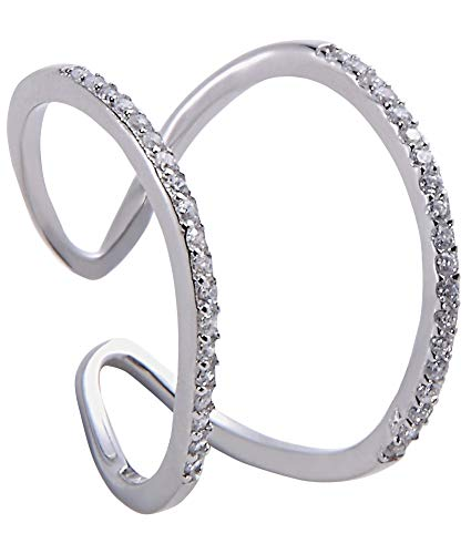 Jenna Hunter Rhodium & CZ Horseshoe Ring for Women 925 Sterling Silver Base with Cubic Zirconia Stones Ring Size 7