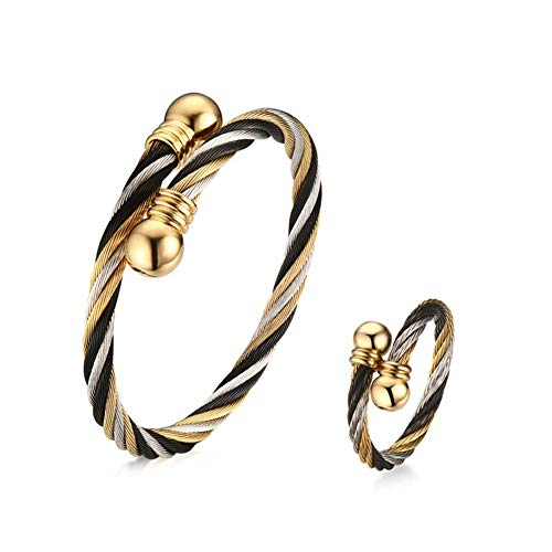 (XLXWJJILY Fashion Jewelry Set, Adjustable 3 Color Stainless Steel Triple Twisted Cable Wire Bangle Bracelets Rings Set)