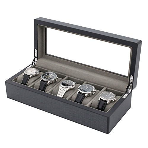 Watch Box Wood for 5 Watches Large Compartments Extra Clearance Glass (Carbon Fiber Design)