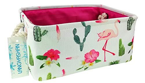 LANGYASHAN Rectangular Storage Basket Collapse Canvas Fabric Cartoon Storage Bin with Handles for Organizing Home/Kitchen/Kids Toy/Office/ Closet/Shelf Baskets (Flamingo)