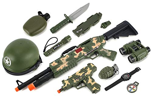 Combat Force Army Machine Gun & SMG Toy Gun Set W/ Battery Operated Machine Gun & SMG, Helmet, Working Flashlight, Canteen, Dummy Knife, Mock Compass, Watch, Grenade, Whistle, -
