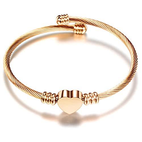 Qindishijia Fashion Women Stainless Steel Woven Adjustable Love Heart Bracelet 6.5inch (Rose Gold)